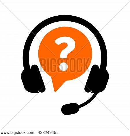 Customer Support Symbol With Headphones And Question Mark Isolated On White Background. Call Center