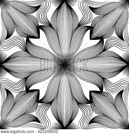 Abstract Seamless Pattern. Arabic Line Ornament With Geometric Shapes. Ffloral Orient Tile Pattern W