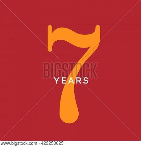 Seven Years Symbol. Seveth Birthday Emblem. Anniversary Sign, Number 7 Logo Concept, Vintage Poster