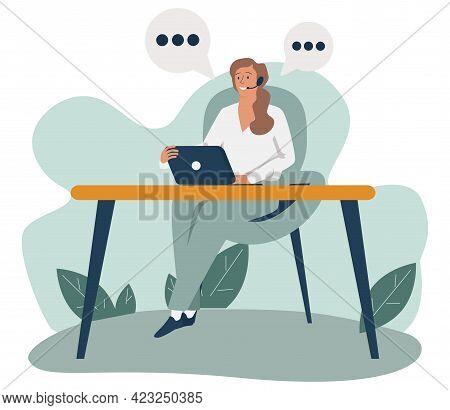 Vector Illustration, Customer Service, Hotline Operator Advises Customer, Online Global Technical Su