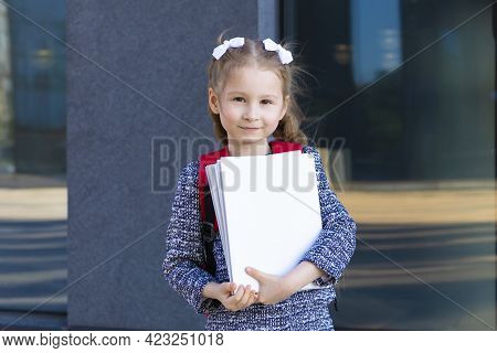 Closeup Portrait Cute Funny Smart Schoolgirl With Books. Back To School. Happy Child, Clever Girl Go