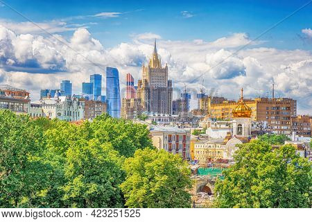 Summer Bright Moscow City Cityscape With Beautiful Clouds. Residential Urban Development In The Fore