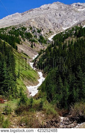 Avalanche Path Melting On Alpine Slopes In Spring