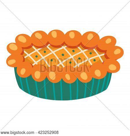 Pumpkin Pie. Traditional American Homemade Pumpkin Pie. Vector Illustration