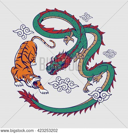 Tiger And Dragon Flat Color Vector  Illustration For Insignia, T-shirt Print, Design Element, Or Any