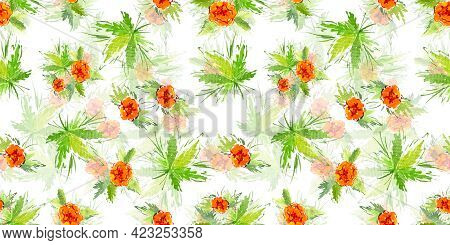 Multicolor Watercolor Branch Five Orange Buttercup Flower On White Background. Doodle And Scribble.