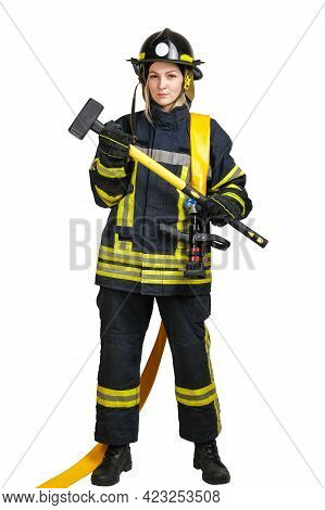 Full-length Young Brave Woman In Uniform And Hardhat Of Fireman With Fire Hose On Shoulders And Sled