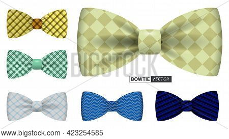 Set Of Realistic Bow Tie Or Bow Tie Men Suit For Office Uniform Or Various Bow Tie Color Clothing Co