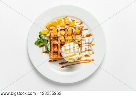 belgian waffle with ice cream