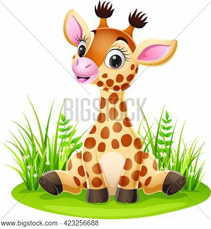 Vector Illustration Of Cartoon Little Giraffe Sitting In The Grass