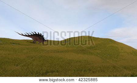 kentrosaurus in grassfield