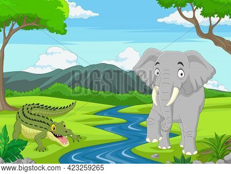 Vector Illustration Of Cartoon Alligator With Elephant In The Jungle