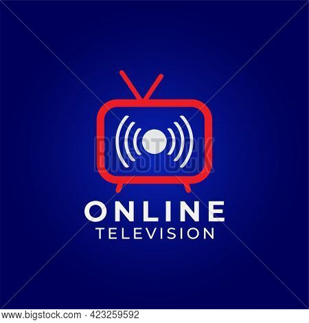 Online Tv Channel Logo On Dark Blue Background. Pictorial Marks Logo Design Concept With Television