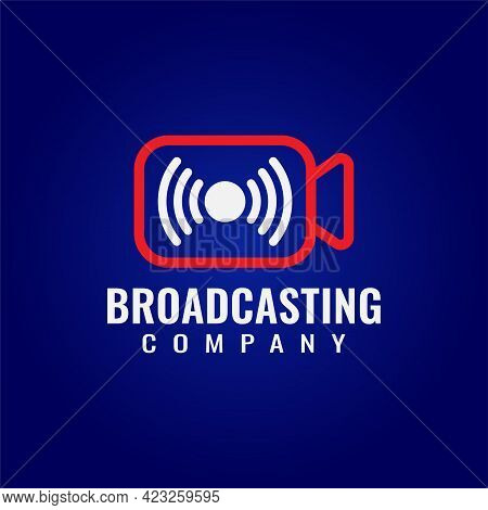 Multimedia And Broadcasting Company Logo On Dark Blue Background. Pictorial Marks Logo Design Concep
