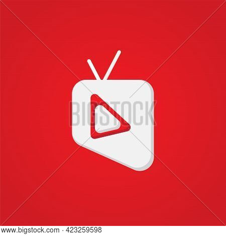 Online Tv Channel Or Broadcasting Company Logo Concept. Pictorial Mark Logo Design Template With Tel