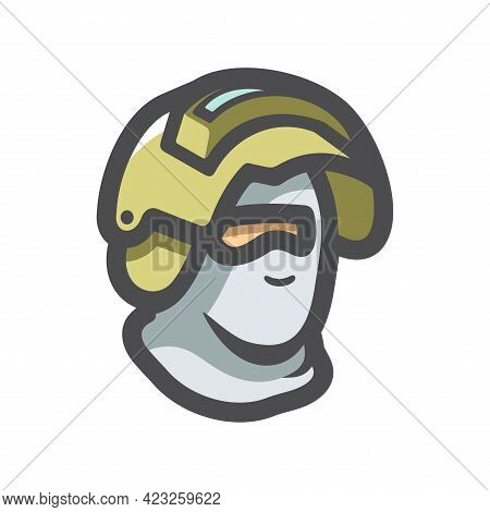 Commando Police Officer In Uniform And Face Mask Vector Icon Cartoon Illustration