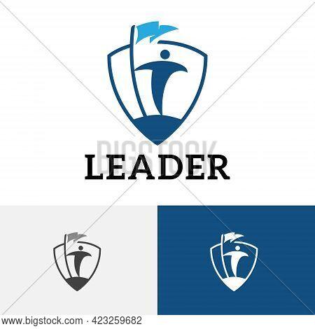 Success Leader Bring Flag Strong Shield Protection Logo