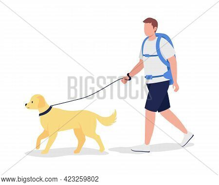 Man With Backpack Walk With Dog Semi Flat Color Vector Character. Trekker Figure. Full Body Person O