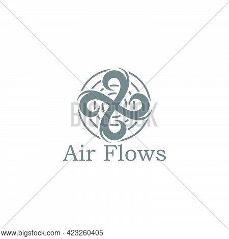 Air Circle Motion Flow Round Swirl Turbines Symbol Vector
