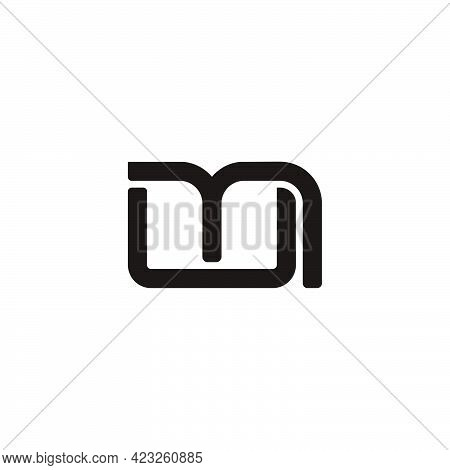 Letter Um Simple Linked Geometric Line Logo Vector
