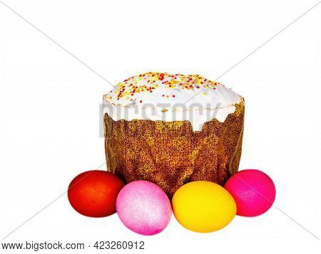 Easter Bread And Colored Eggs On A White Background. Easter Eggs. Orthodox Church. Religious Traditi