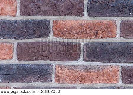 Brick Wall Of Clinker Decorative Brick Close-up. Designer Brickwork. Background Image