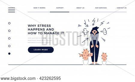 Stress, Pressure, Panic, Mental Disorders Web Template. Screaming Angry Woman Is Under The Stress. P