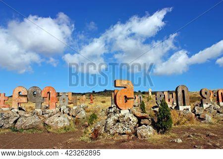 Artashavan,armenia- October 2,2011:the Monument Of The Armenian Alphabet Is Located In The Village O