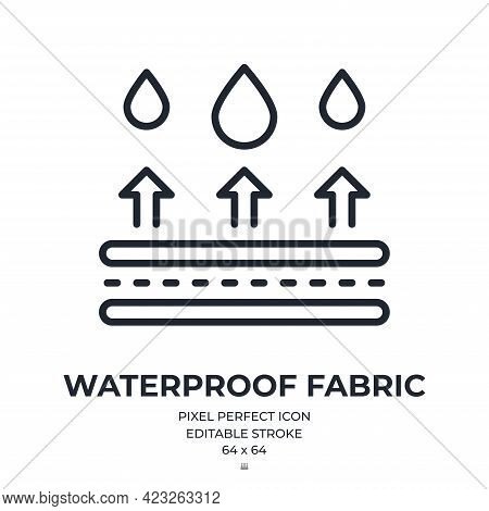Waterproof Fabric Editable Stroke Outline Icon Isolated On White Background Flat Vector Illustration