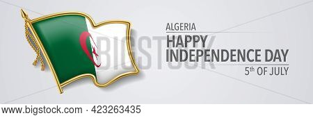 Algeria Happy Independence Day Greeting Card, Banner With Template Text Vector Illustration