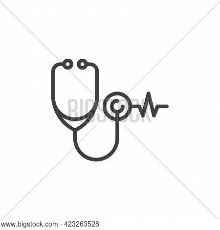 Stethoscope Heartbeat Line Icon. Linear Style Sign For Mobile Concept And Web Design. Heart Healthca