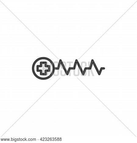 Medical Heartbeat Line Icon. Linear Style Sign For Mobile Concept And Web Design. Heart Rate And Med