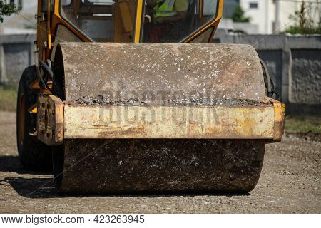 Shallow Depth Of Field (selective Focus) Details With A Heavy Vibrator Roller (vibratory Compactor,