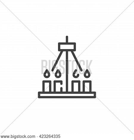 Ceiling Candelabra Line Icon. Linear Style Sign For Mobile Concept And Web Design. Chandelier With C