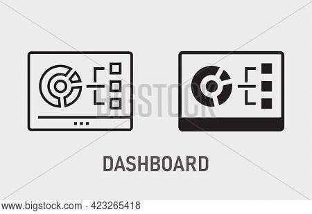 Dashboarding Visualization Icon On White Background. Vector Illustration.