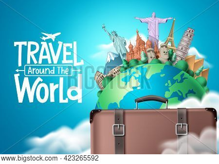 Travel The World Vector Design. Travel Around The World Text With Traveler Suitcase Elements And Wor