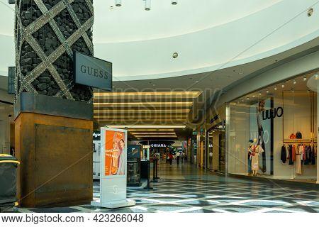 Katowice. Poland 11 May 2021. Retail Shoppers In Silesia City Center Katowice. Interior Of Retail Ce