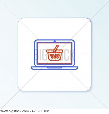 Line Shopping Basket On Screen Laptop Icon Isolated On White Background. Concept E-commerce, E-busin