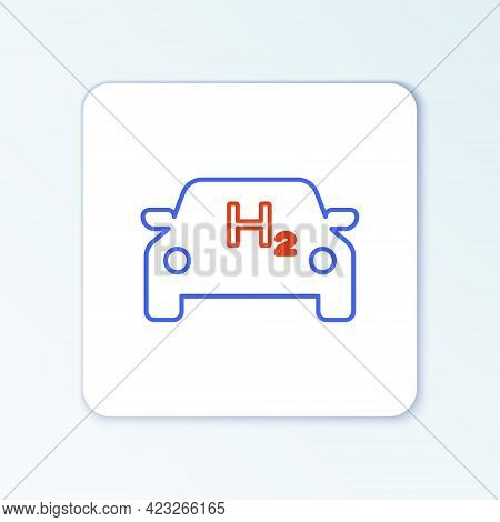 Line Hydrogen Car Icon Isolated On White Background. H2 Station Sign. Hydrogen Fuel Cell Car Eco Env