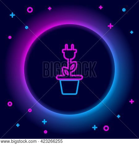 Glowing Neon Line Electric Saving Plug In Pot Icon Isolated On Black Background. Save Energy Electri