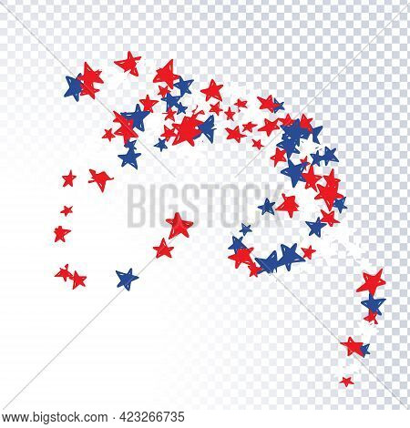 Pattern With Blue, Red, White Stars Of Celebration Usa Independence Day, Memorial Day. Holiday Confe