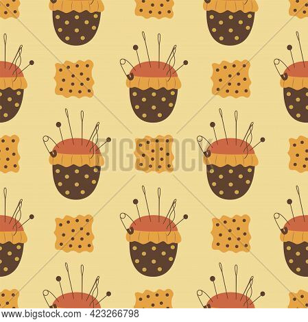 Seamless Pattern Needle Pillow And Fabric. Colorful Vector
