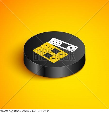 Isometric Line Office Folders With Papers And Documents Icon Isolated On Yellow Background. Office B