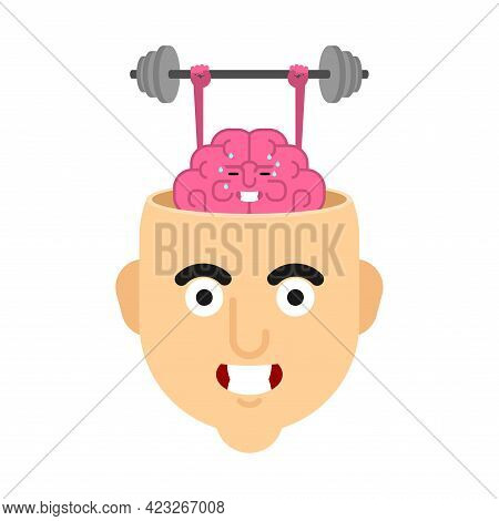 Head And Brain Gym. Boost Your Brains. Brain And Barbell