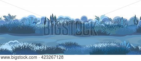Night Old Road Through The Meadow. Dark Herbal Glade. Grass Close Up. Rural Landscape. Trail. Cartoo