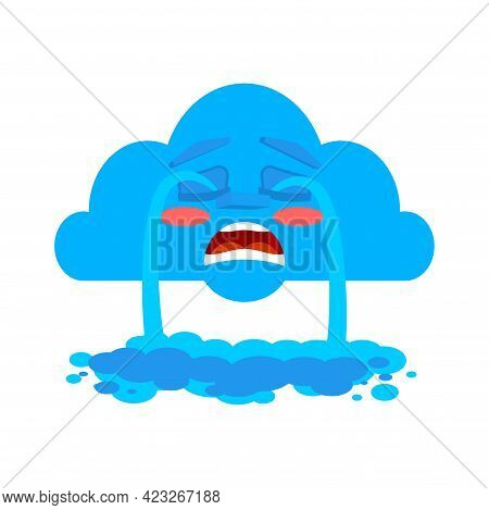 Crying Cloud Isolated. Cloud Is Crying Like Rain. Vector Illustration
