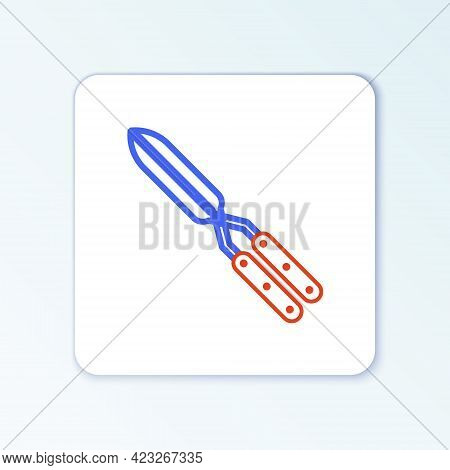 Line Gardening Handmade Scissors For Trimming Icon Isolated On White Background. Pruning Shears With