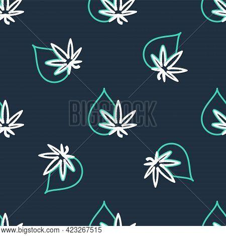Line Medical Marijuana Or Cannabis Leaf Olive Oil Drop Icon Isolated Seamless Pattern On Black Backg
