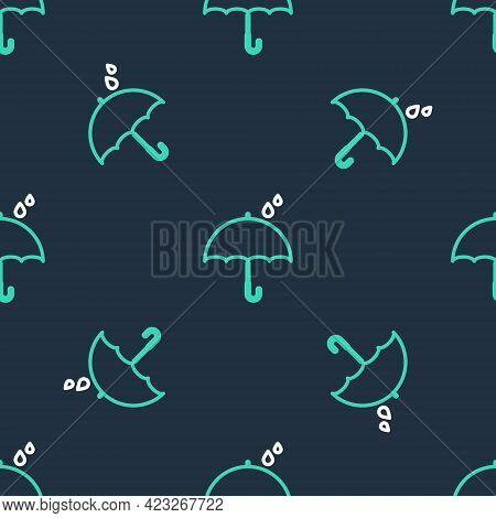 Line Umbrella And Rain Drops Icon Isolated Seamless Pattern On Black Background. Waterproof Icon. Pr