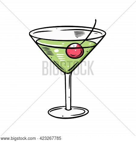 Green Margarita Cocktail. Hand Drawn Outline Style. Colorful Cartoon Vector Illustration.